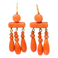 1870s Victorian Coral 14 Karat Gold Chandelier Drop Earrings