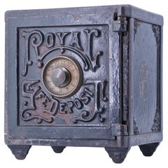 1870s Victorian Royal Safe Deposit Iron Copper Tabletop Safe Vintage Industrial