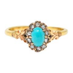 1870's Victorian Turquoise Diamond 14 Karat Gold Cluster Ring