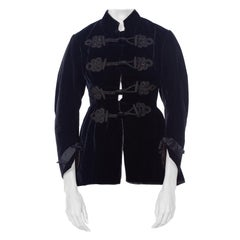 1870S Black Silk Velvet  Hand Quilted Lined Smoking Jacket With Passementerie D