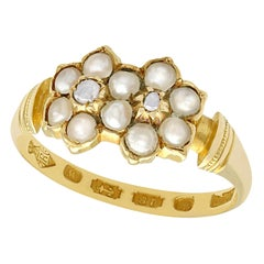 1871 Antique Pearl and Diamond Yellow Gold Cocktail Ring