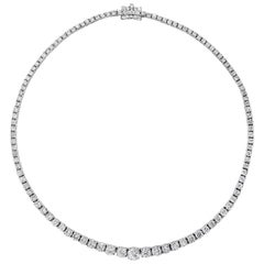 18.71 Carat Total Round Diamond Riviere Necklace