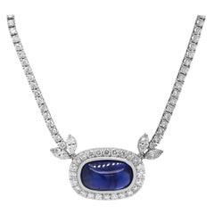18.72 Carat Burma No Heat Cabochon Blue Sapphire 18k White Gold Diamond Necklace