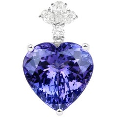 18.72 Carat Genuine Tanzanite and White Diamond 18 Karat White Gold Pendant