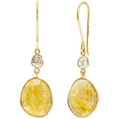 18.72 Carats Rose Cut Sapphire Diamond 18 KT Yellow Gold Tresor Artisan Earrings