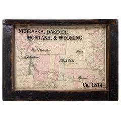 1874 Antique Map of Nebraska, Dakota, Montana, and Wyoming