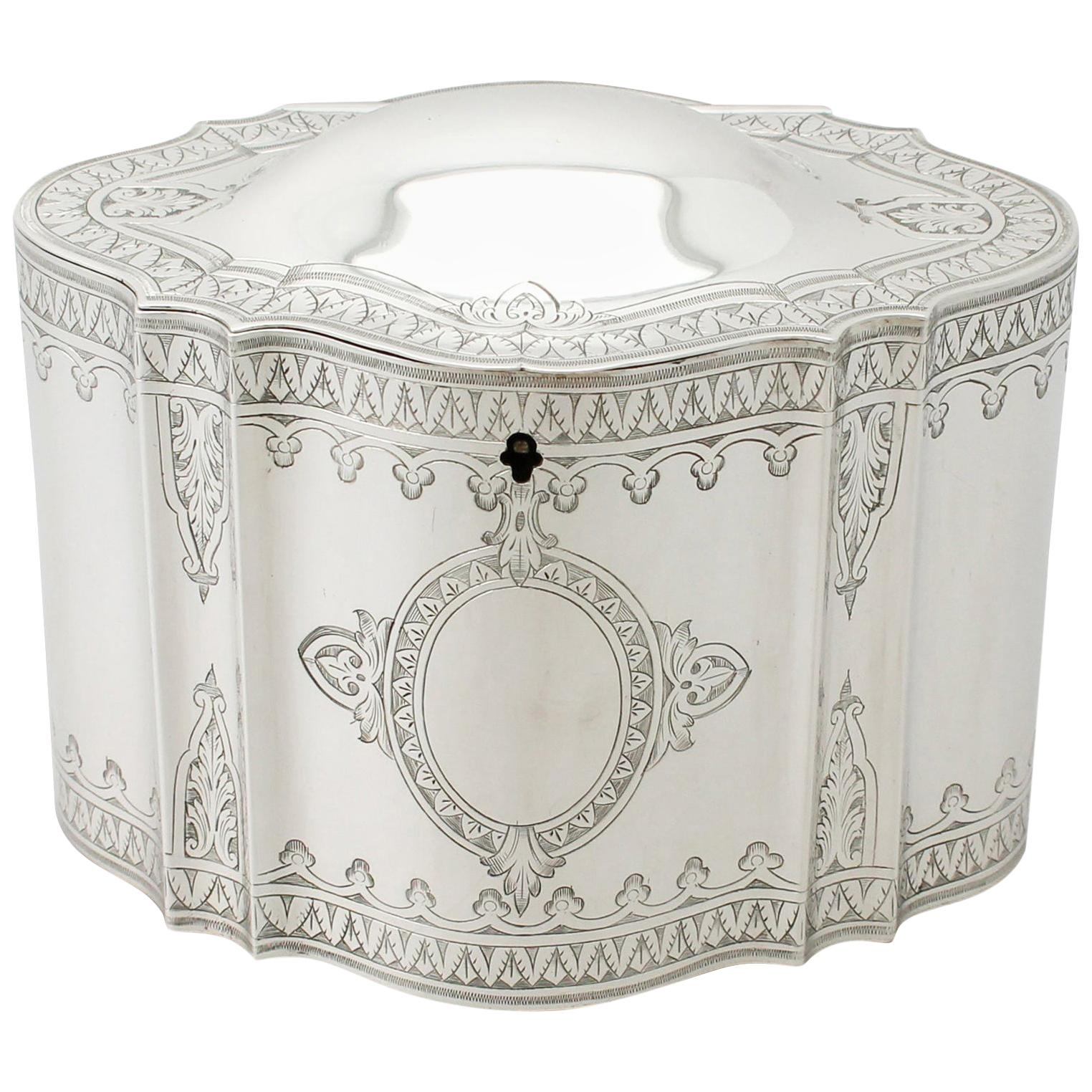 1874 Antique Victorian Sterling Silver Locking Tea Caddy