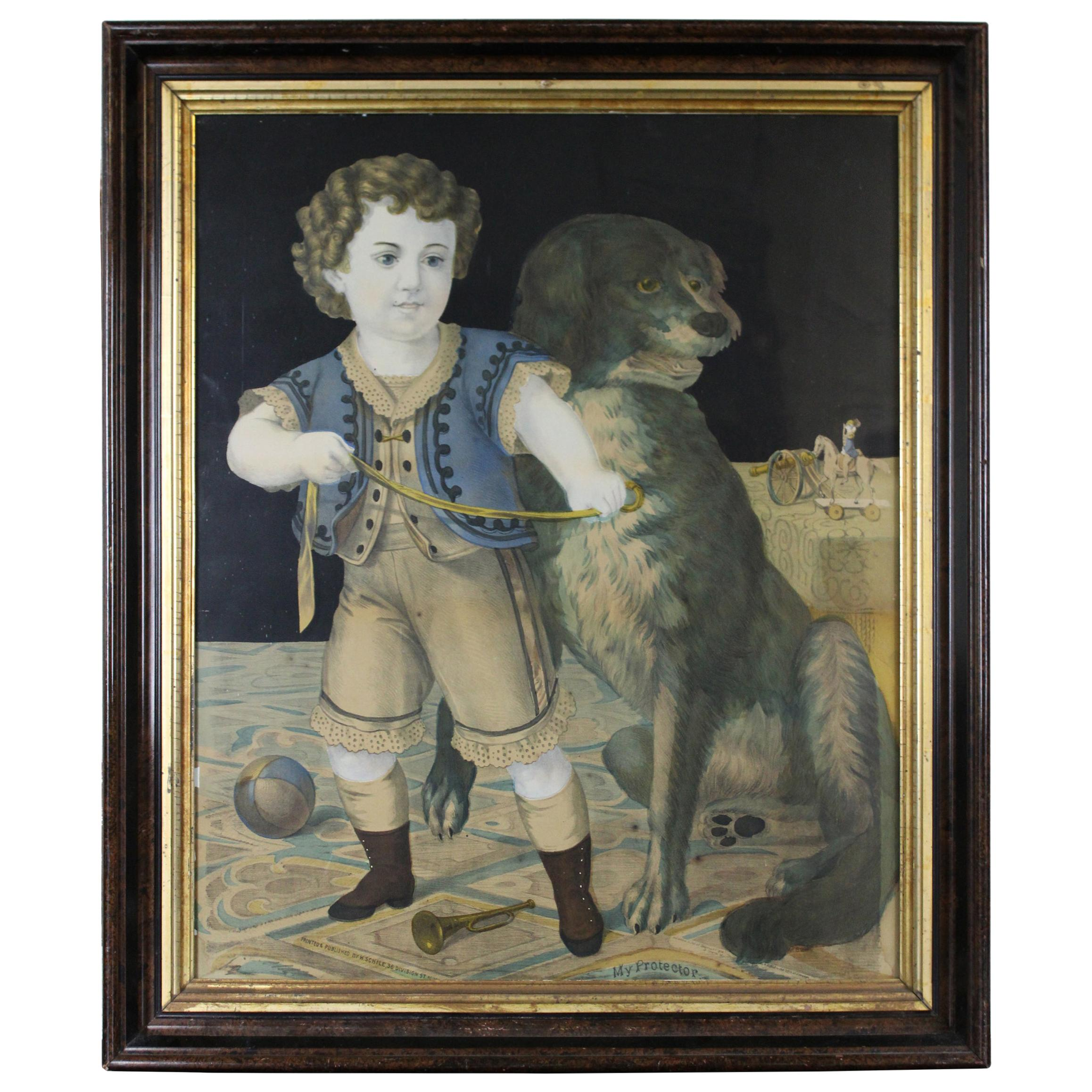 1874 Henry Schile My Protector Boy & Dog Colored Lithograph Framed Antique Print