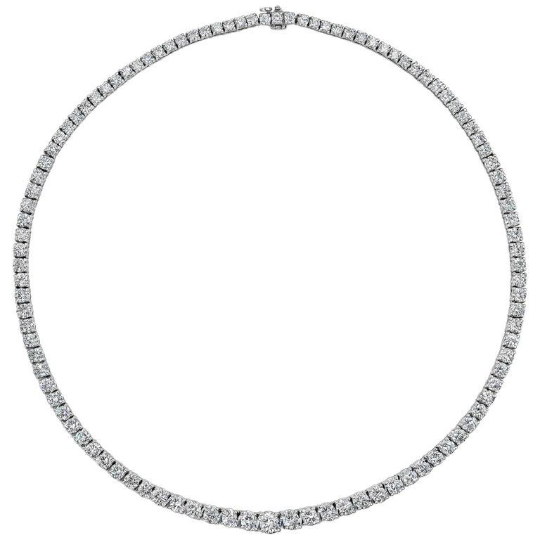 18.75 Carat Round Brilliant Diamond Riviere Necklace For Sale