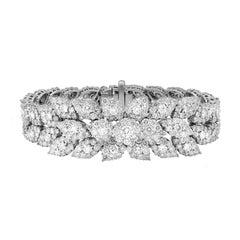 18.75 Carat Flower Cluster Diamond Bracelet