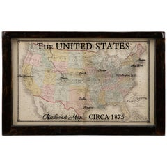 1875 Map of the United States, Antique U.S. Railroad Map