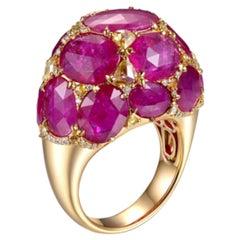 18.76 Carat Ruby Diamond Cocktail Vintage Style Ring 18 Karat Yellow Gold