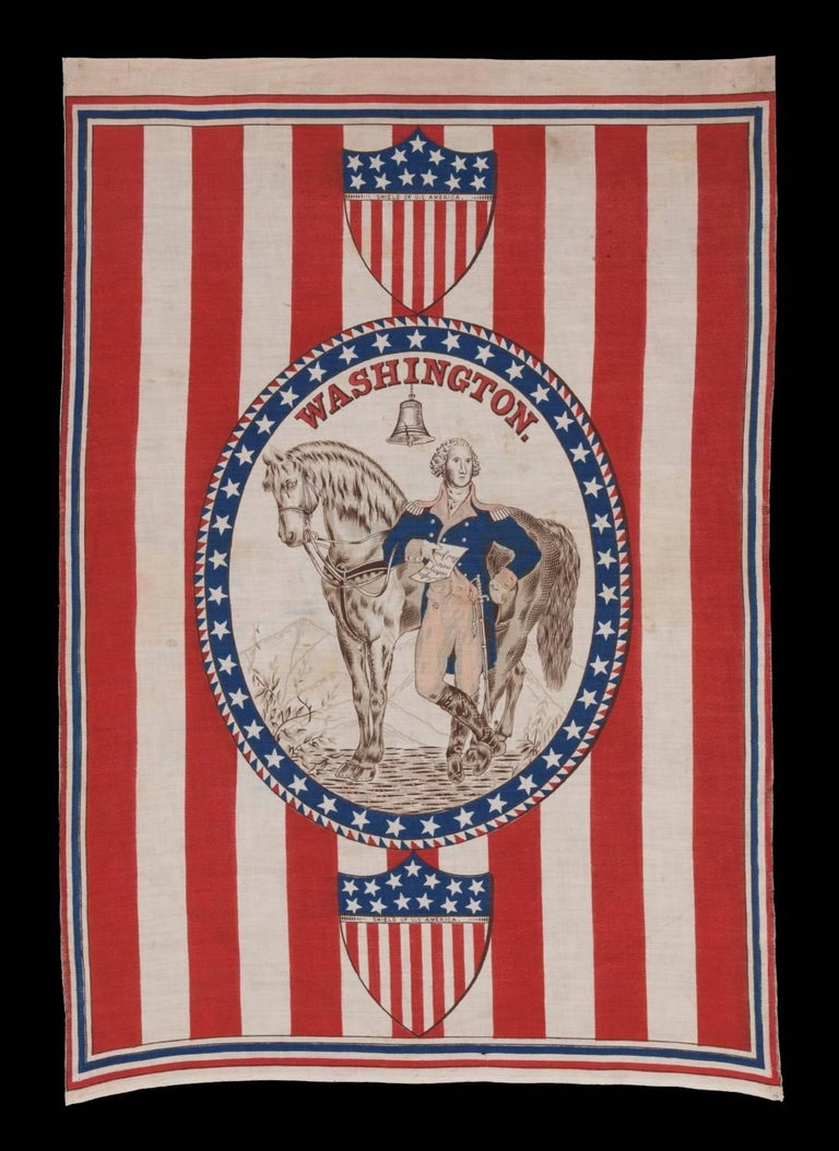 1876 Centennial celebration parade banner with oval standing portrait of George Washington and his horse on a ground of red and white stripes: