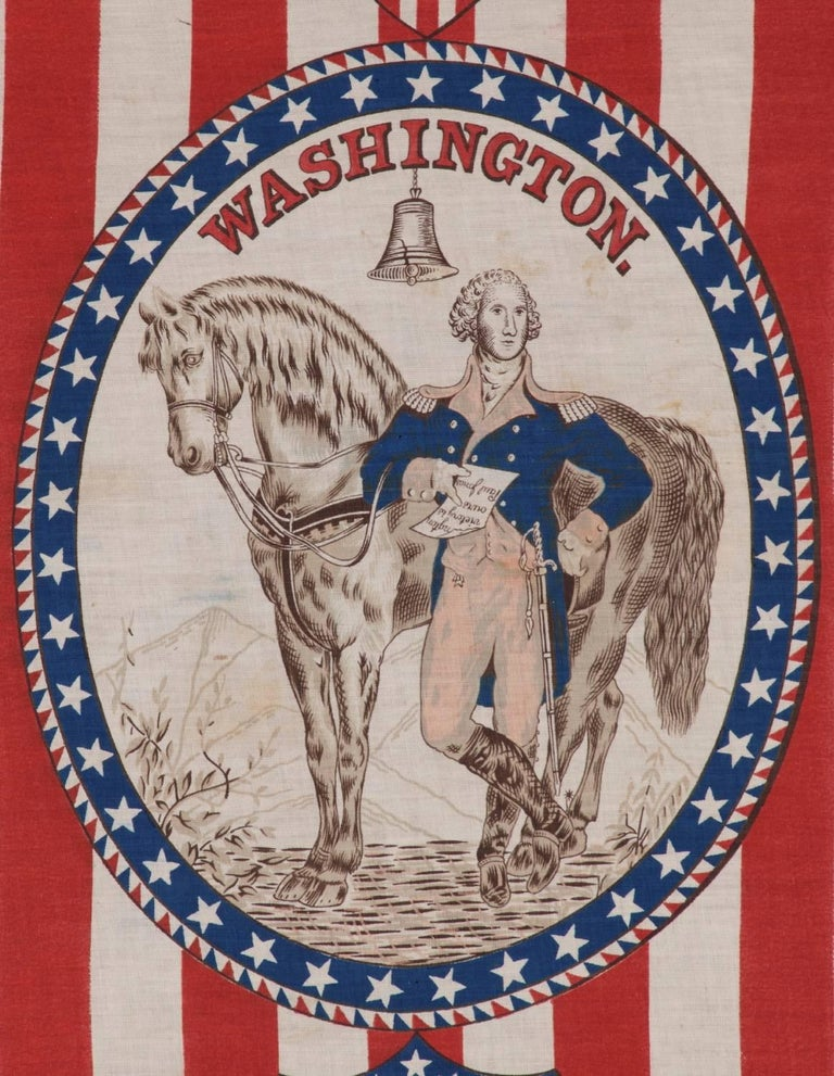 American 1876 Centennial Celebration Parade Banner with George Washington and his Horse For Sale
