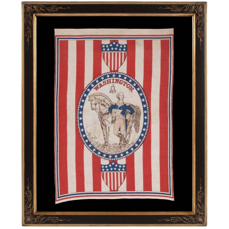 1876 Centennial Celebration Parade Banner with George Washington and his Horse For Sale