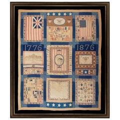1876 Centennial Quilt Made from Various Fag, Kerchief and Patriotic Fabrics