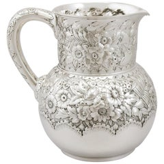1877 Antique American Sterling Silver Water Pitcher Jug by Tiffany & Co.