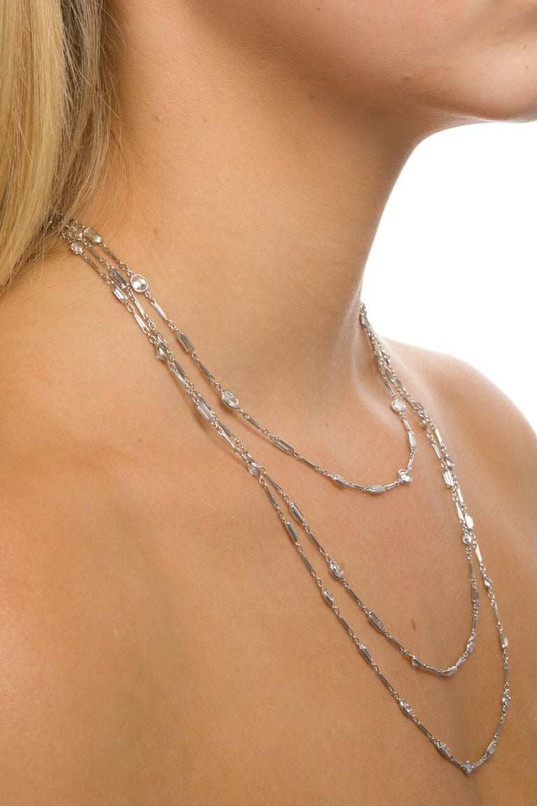 18.77 Carat Diamonds by the Yard Platinum Chain Necklace In Excellent Condition For Sale In Brisbane, AU