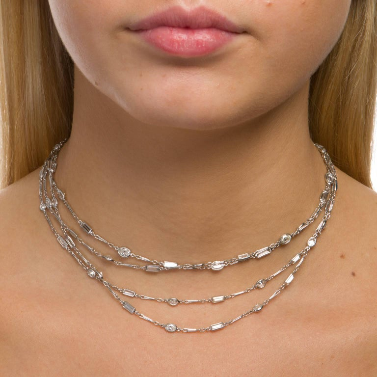 Women's 18.77 Carat Diamonds by the Yard Platinum Chain Necklace For Sale