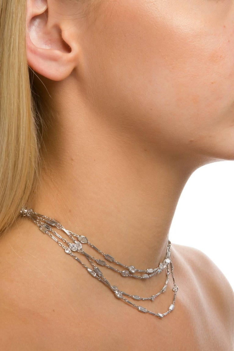 18.77 Carat Diamonds by the Yard Platinum Chain Necklace For Sale 1