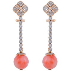 18.77 Coral and Diamond 18 Karat Yellow Gold Earrings