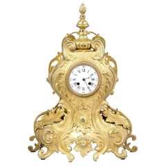 1878 Brass Mantel Clock H&F Paris Movement