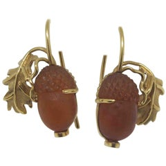 18.78 Carat Garnet Carved Acorns 18 Karat Yellow Gold Earrings