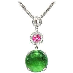 18.78 Carat Green Pink Tourmaline Cabochon Diamond Enhancer Natalie Barney