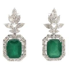 18.79 Carat Emerald Diamond 18 Karat White Gold Earrings