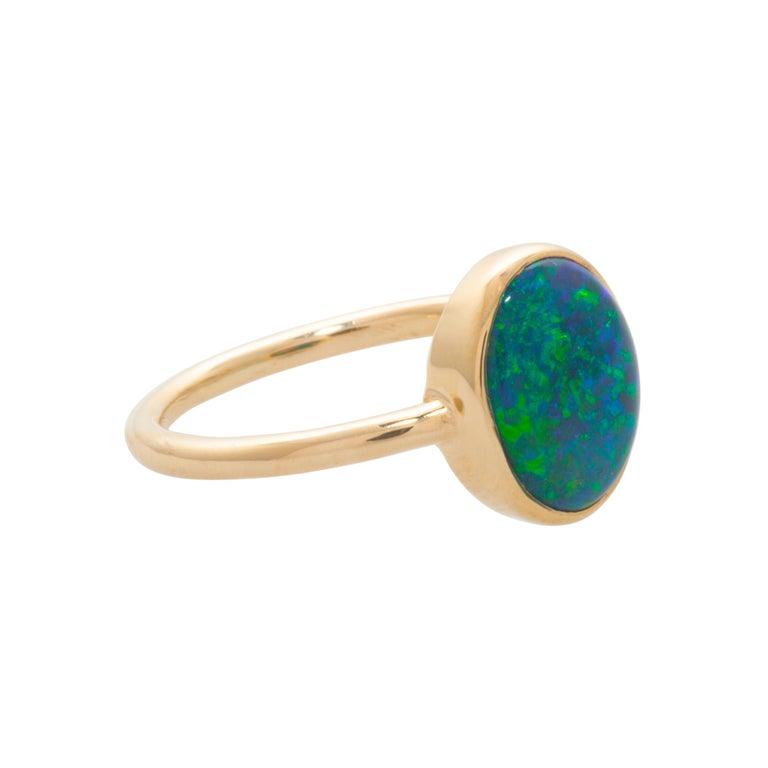 Contemporary Mociun 1.88 Carat Australian Black Opal Ring For Sale