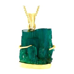 18.8 Carat Colombian Emerald Rough Pendent/Necklace 18 Karat Gold with Chain