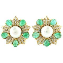 1.88 Carat Emerald Diamond 14 Karat Gold Flower Stud Earrings
