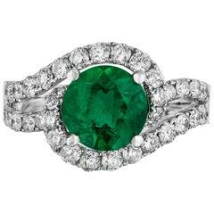 1.88 Carat Emerald Diamond Cocktail Ring