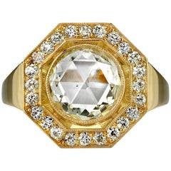 Handcrafted Catalina Rose Cut Diamond Octagonal Ring by Single Stone