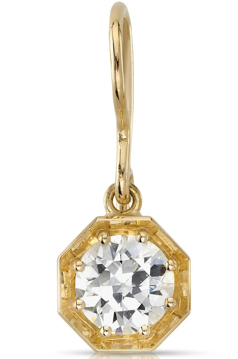 1.88ctw KL/VVS2-SI1 GIA certified old European cut diamonds set in handcrafted 18K yellow gold drop earrings.  Our jewelry is made locally in Los Angeles and most pieces are made to order. For these made-to-order items, please allow 8-10 weeks for