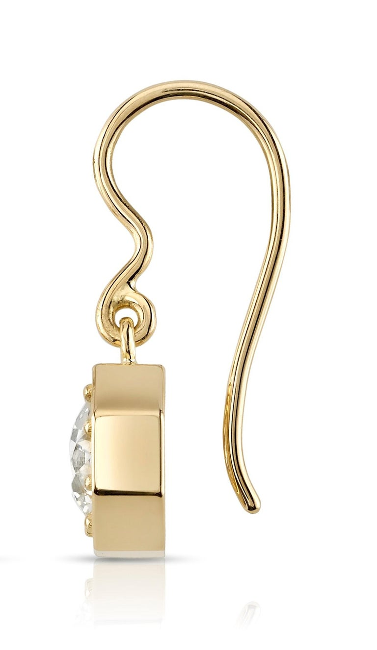 Handcrafted Gemma Old European Cut Diamond Drop Earrings by Single Stone In New Condition For Sale In Los Angeles, CA