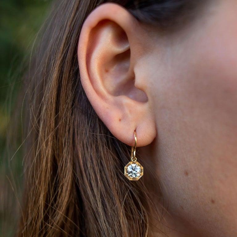 Women's Handcrafted Gemma Old European Cut Diamond Drop Earrings by Single Stone For Sale