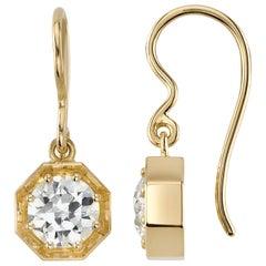 Handcrafted Gemma Old European Cut Diamond Drop Earrings by Single Stone