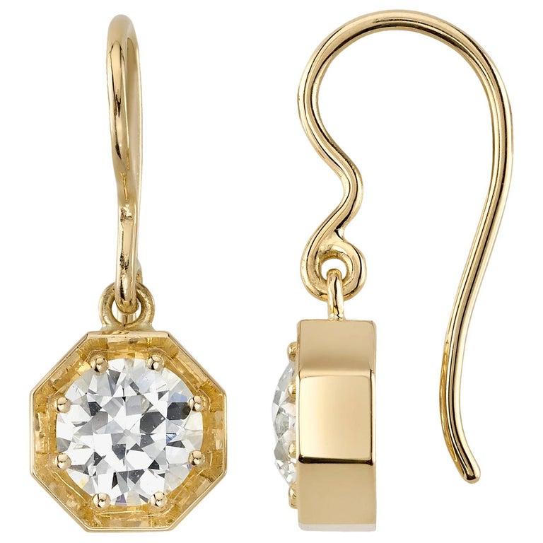 Handcrafted Gemma Old European Cut Diamond Drop Earrings by Single Stone For Sale
