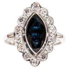1.88 Carat Marquise Sapphire and 0.76 Carat Diamond 18 Carat White Gold Ring