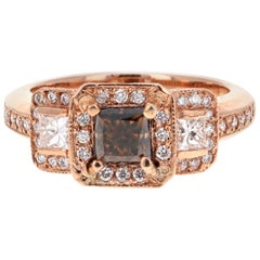 1.88 Carat Natural Fancy Brown Champagne Diamond Three-Stone Engagement Ring