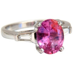 1.88 Carat Natural Pink Sapphire Diamonds Ring Platinum