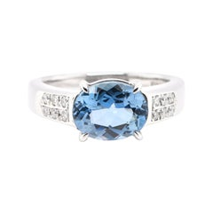1.88 Carat, Natural, Santa-Maria Aquamarine and Diamond Ring Set in Platinum