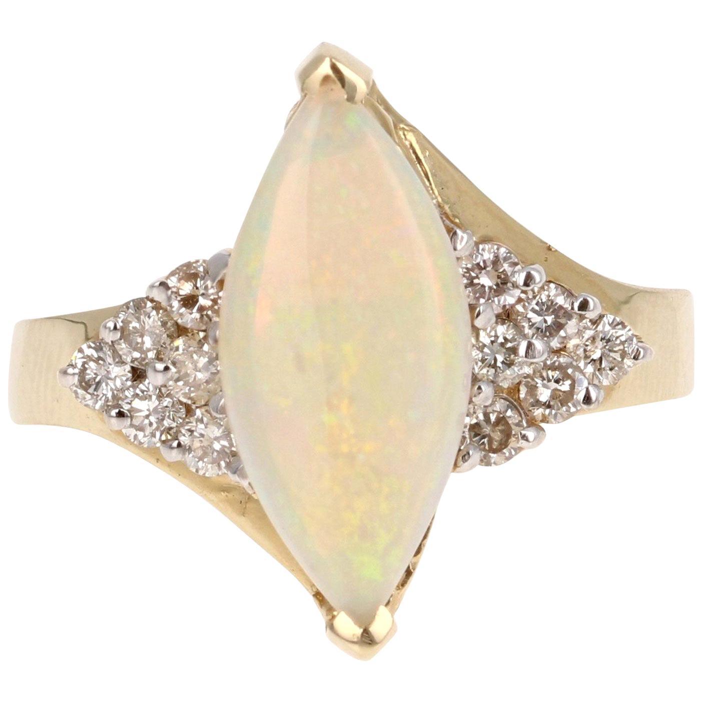 1.88 Carat Opal Diamond 14 Karat Yellow Gold Ring