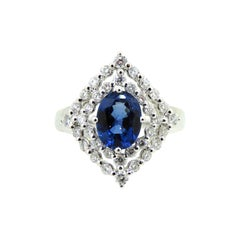 1.88 Carat Oval Blue Natural Sapphire and Diamond Engagement Ring