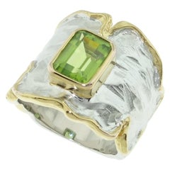 1.88 Carat Peridot Solitaire Gold and Sterling Silver Ring