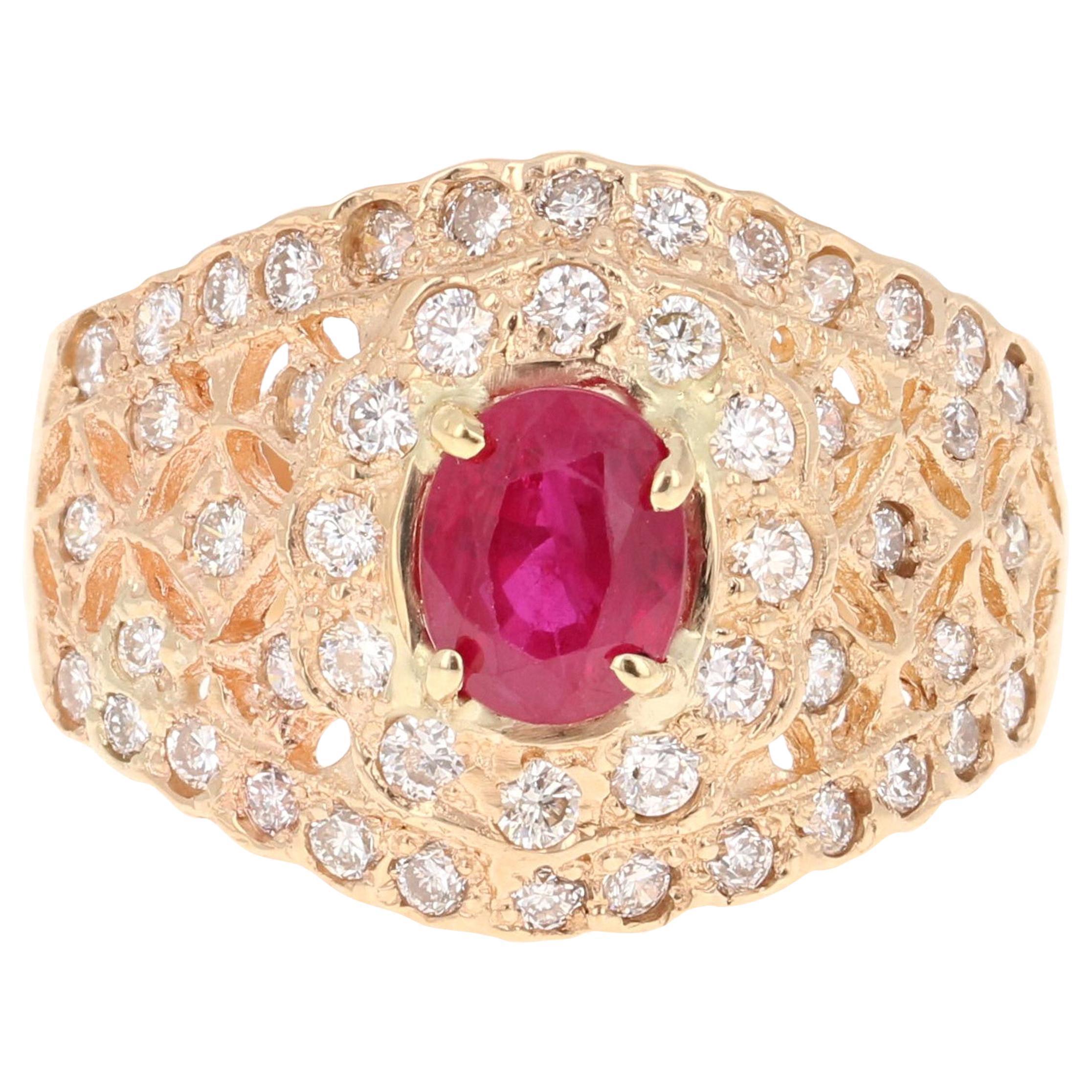 1.88 Carat Ruby Diamond 4 Karat Yellow Gold Ring