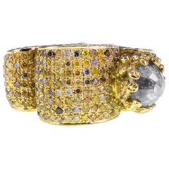1.88 Carat Salt and Pepper Diamond Cocktail Imperfect 18K Heavy Gold Ring