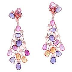 18.8 Carat Sapphire Diamond 18 Karat Gold Web Earrings