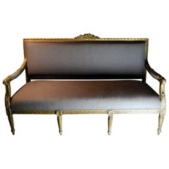 1880-1900 French Louis XVI Carved Giltwood Settee